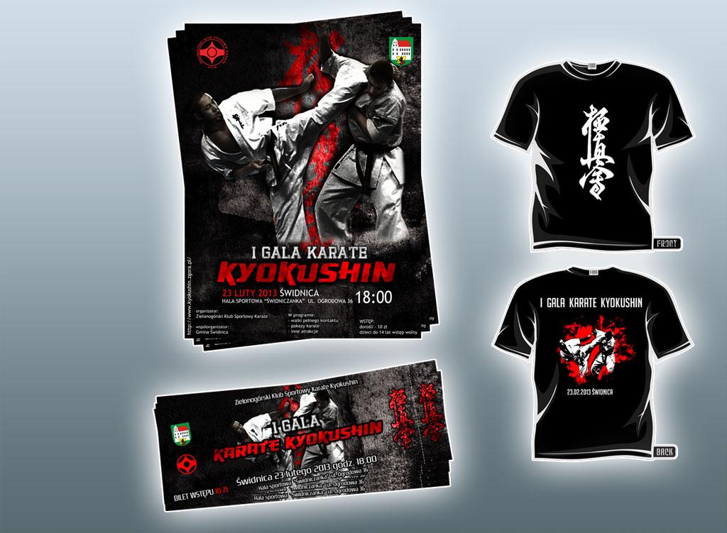 Plakaty, bilety, koszulki na galę Kyokushin